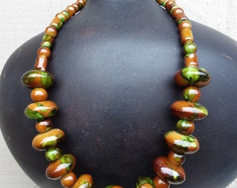 Chunky Olive Green & Brown Bold Casual Necklace Camouflage Tropical Beach Jewelry Accessory Jewellery