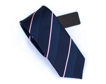 Navy Necktie With Pink Stripes.Mens Ties.Wedding Ties.Skinny Ties