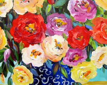 Multi Color Roses Original Painting canvas art 18 x 24  Art by Elaine Cory