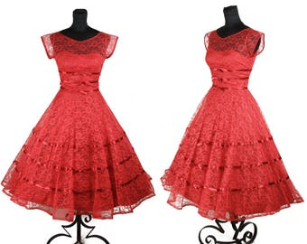 1950s Dress // Red Lace Full Skirt Party Dress with Ribbons