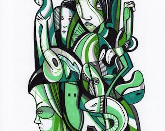 """Atad - Original mixed media Illustration on Bristol - 8"""" x 10"""""""