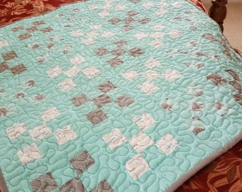 Baby Quilt, Teal and Gray , Elephants