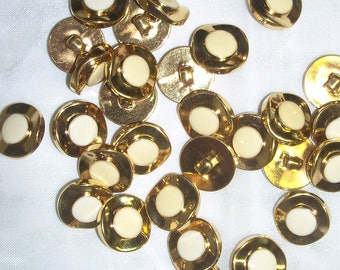 """12 Buttons, 5/8"""" Small, Round, Cream, Gold Setting, Lightweight, 100% Acrylic"""
