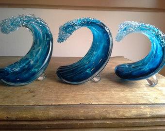 blown glass wave sculpture...