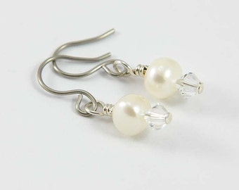 White Pearl Earrings with Hypoallergenic Titanium Earwires- White Freshwater Pearls and Swarovski Crystals- Flowergirl Earrings