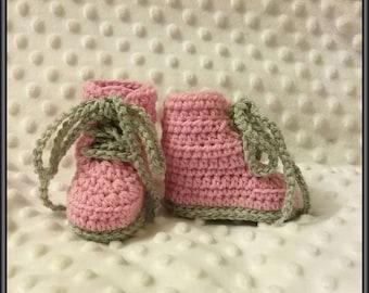 Newborn Baby Crocheted Pink & Grey Combat Boots 8cm Sole