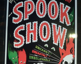 Dr. Neff's Midnite Spook Show Event Poster Freak Magic Act  Magician Oddities Ghouls Print / Art / Illustration/ Window Card Reproduction