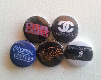"5 x Crystal Castles 1"" Pin Button Badges ( electronic music group toronto )"