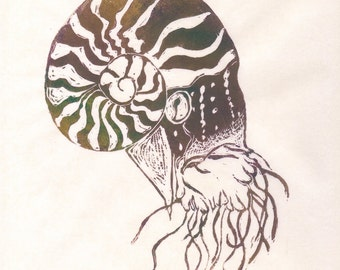 The Nautilus First Edition Linocut - Sea Creature, Cephalopod, Spiral Shell Nautilus Lino Block Print