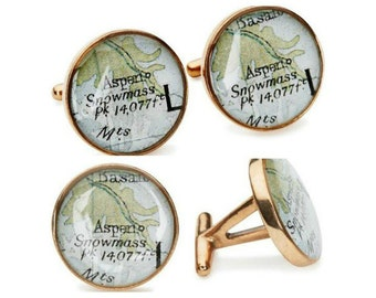 Aspen Map Cufflinks  Ski Vacation Vintage Atlas Golden Bronze Colorado Maps