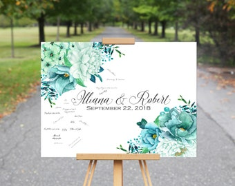 Wedding Guest Book Alternative, Teal Wedding Guest Book, Canvas GuestBook, Mint and Teal Wedding Flowers