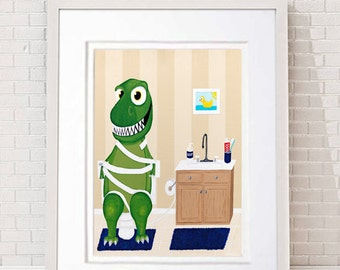 Dinosaur painting, T-Rex with technical difficulties in the bathroom. Boys room, Girls room, Kids decor, great bathroom painting