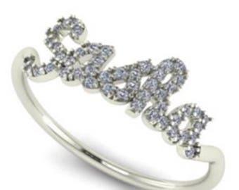 Custom NAME Diamond Ring