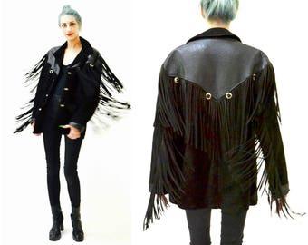 Mens Vintage Black Leather Fringe Jacket Size 40 Western Biker Schott Leather Suede Jacket Coat Size Medium Large