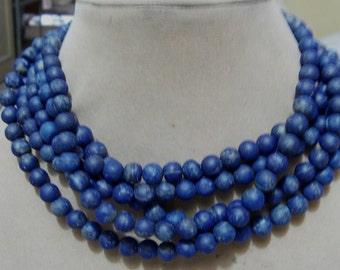 1 Strand   Lapis lazuly  Mate polished Round  beads   16''  40, grams