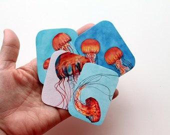 Jellyfish Stickers, Vinyl Stickes, Sticker set, Watercolor Art, Watercolor Print, Jellyfish, Jellyfish decor, vinyl sticker set