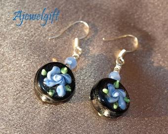 Periwinkle Blue Flower Earrings 11070
