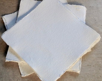 20cm Square Khadi 320gsm paper, 7.9 inch Rough surface, 10 sheets heavy Cotton Rag Paper deckle edge handmade artists paper,