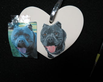 Pit Bull Pet Portrait Ceramic Ornament Hand Painted and Made to Order by Shannon Ivins
