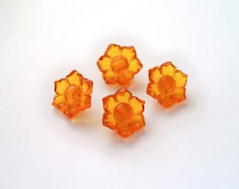 Vintage Translucent Flower Buttons - Golden Yellow - Unused - Set of Four