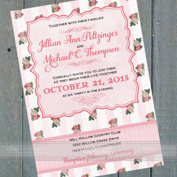 wedding invitations, Victorian wedding invitations, Victorian bridal shower invitations, Victorian baby shower invitations, IN411