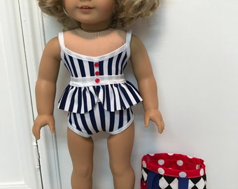 American Made Two-piece tankini Swimsuit/ bag and sandals made to fit 18 inch  dolls such as American Girl
