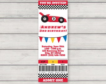 Race Car Invitation PRINTABLE Racecar Birthday Party Invitation INSTANT DOWNLOAD with Editable Text
