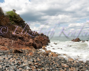 Ocean Waves Crashing on Rocky Shore Bathed in Sunlight 16in x 20in Photography Print