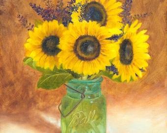 Sunflower painting, Mason Jar Print, Sunflowers in Ball Jar 8x10 print of original oil painting by Amelia Nowak