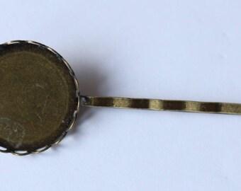 inside cabochon 19 mm bronze hair pin