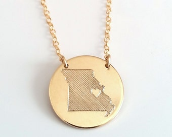 State Love Necklace - State Disc Necklace - Gold, Silver, Rose Gold State Charm - State Heart Charm - Custom State Pendant - Personalized