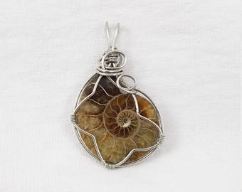 Ammonite Pendant - Opalized Ammonite Jewelry - Ammonite Fossil Jewelry - Crystal Pendants - Wire Wrapped Jewelry - Healing Crystals Stones