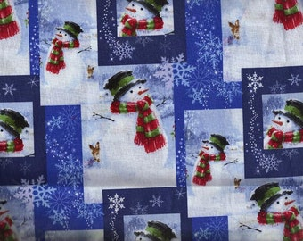 Holiday Winter Christmas Snowman and Scarf Fabric, Quilt or Craft Cotton Fabric