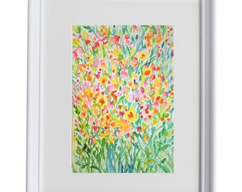Landscape, Floral, Download Printable Wall Art Watercolor spring flowers, wild flowers Instant image Download Digital, wall art