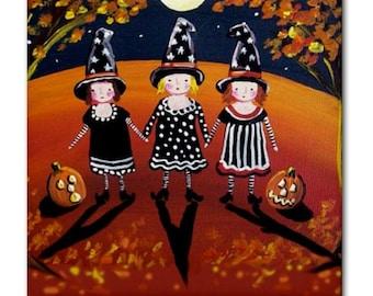 3 Little Halloween Witches Whimsical Folk Art Ceramic Tile