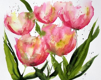 PRINT (8x10) of  pink apricot tulips Watercolor Painting, tulips Painting, Watercolor tulips