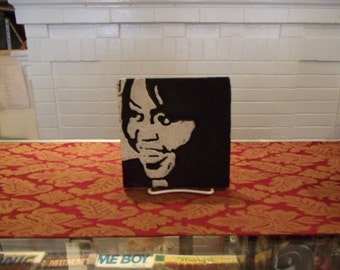 Michelle Obama First Lady-Ceramic Hand Carved Art Tile-Limited Edition & Supply