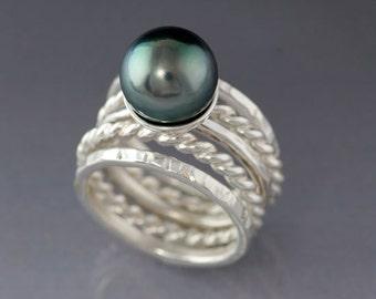 10mm Tahitian Natural Black Pearl Sterling Silver Stacking ring set, Black Pearl Silver Ring, Real Black Pearl, June Birthstone ring
