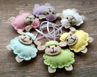 Felt Sheep ornament, Wool felt Easter Lamb ornament, pastel Easter decor, blue pink sheep, pastel decoration - 1 ornament
