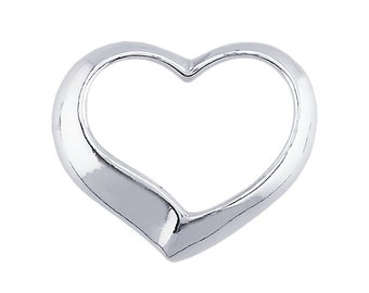 Sterling Silver Floating Heart Pendant, your choice of size  12 x 10mm or 16 x 13mm