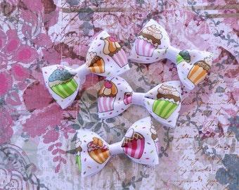 Cupcake hair bows, hair bow set