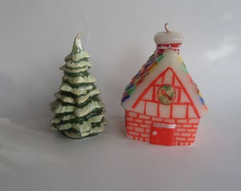 Cute Christmas Candles, Winter Candles, House and Evergreen Tree with Snow, Winter Decor