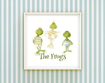 Frogs Nursery Print - Cute Green Frogs Bathing Whimsical Children's Illustration Kid's Room Decor 3rd Birthday Gift - Happy Birthday Card