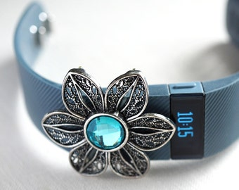 Mothers Day Gift Ideas Wearable Tech Jewelry Fitbit Flex Band FitBit Bling Fitness Band accessories Fitness Jewelry Aqua Blue Crystal Flower