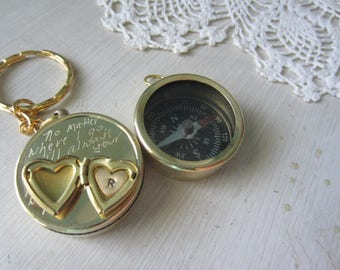 Engraved compass, hand engraved compass, compass keychain, quote compass, personalized compass, i carry your heart, no matter where