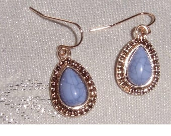 Gold Plated Hoop Earrings with lilac stone