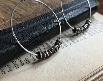 A Bit of Dark Sterling and Dark Patina Hoop Earrings