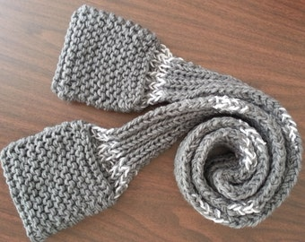 Handmade Scarfet (Scarf with Pockets) - Gray and White - Tween Size