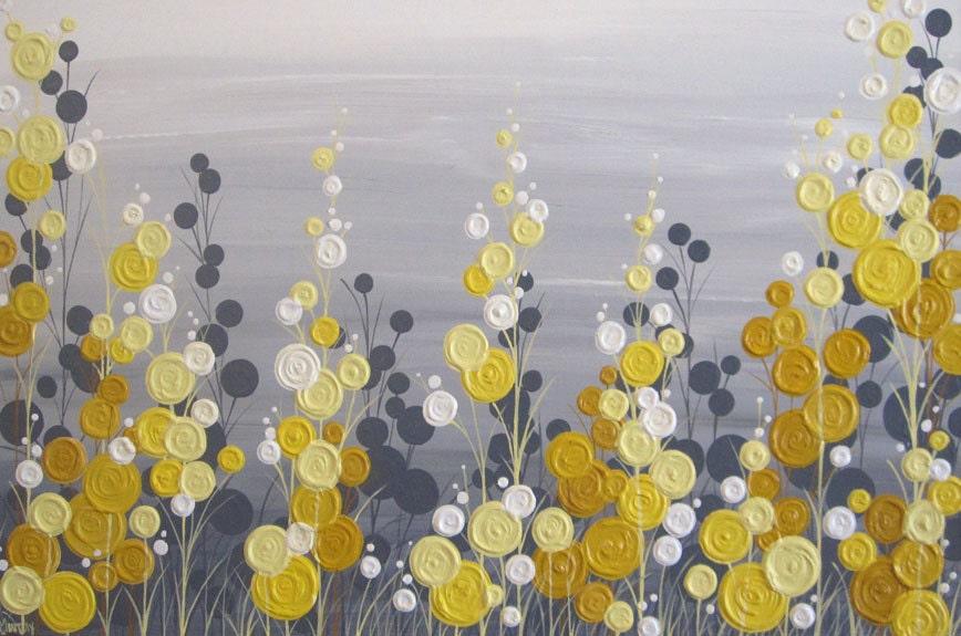 Yellow and grey textured flower art acrylic painting on zoom mightylinksfo