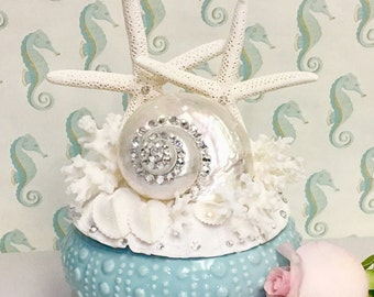 Beach Wedding Cake Topper or Table Centerpiece with Starfish, Pearl Turbo Shell and Swarovski Crystals
